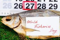 Czerwa 27 rybołówstw Światowy dzień na kalendarzu z sztokfiszem Obraz Royalty Free