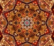 czerwień z brown jaskrawym orientalnym ornamentem Fotografia Royalty Free