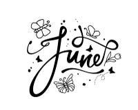 Czerwiec, dekoracyjny słowo z doodles na białym tle, ilustracja Obrazy Royalty Free