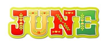 Czerwiec, ilustrujący imię kalendarzowy miesiąc, ilustracja Fotografia Stock