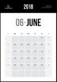 Czerwiec 2018 Minimalistyczny Ścienny kalendarz Fotografia Stock