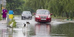 Czerwiec 21, Vyshenky Ukraina Konsekwencje prysznic Samochód bryzga przez wielkiej kałuży na zalewającej ulicie Obrazy Royalty Free