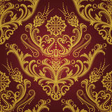 czerwieni kwiecista złocista luksusowa tapeta Fotografia Stock