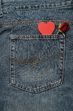 Czerwieni róża z czerwonym sercem Fotografia Royalty Free