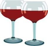 czerwieni szklany wino dwa Obrazy Stock