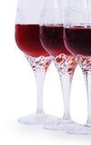 czerwieni wino trzy Zdjęcia Stock