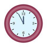 czerwieni zegarowa minutowa ręka na pięć, dwanaście godzin prostej wektorowej ikonie ilustracja wektor