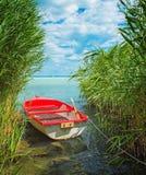 Czerwona łódź na jeziornym Balaton Obraz Stock
