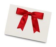Czerwona łęk karta Fotografia Royalty Free