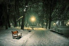 Czerwona ławka w parku fotografia royalty free