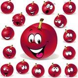 Czerwona śliwkowa kreskówki ilustracja z wiele wyrażenie Zdjęcia Stock