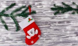 Czerwona świąteczna skarpeta santa Claus buty Zdjęcia Stock