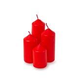 Czerwona świeczka odizolowywająca na bielu Fotografia Royalty Free