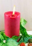 Zaświecająca czerwona świeczka Zdjęcia Stock
