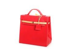 Czerwona żeńska rzemienna torba Obrazy Stock