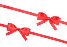 Czerwona atłasowa łęk kępka, faborki na bielu i - set 61 Zdjęcie Stock