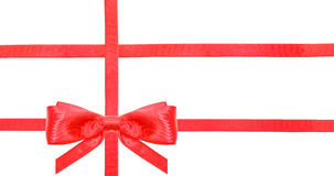 Czerwona atłasowa łęk kępka, faborki na bielu i - set 25 Obraz Royalty Free