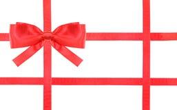 Czerwona atłasowa łęk kępka, faborki na bielu i - set 32 Zdjęcie Royalty Free