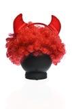 Czerwona błazen peruka z Czarcimi rogami zdjęcia royalty free