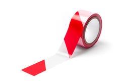 Czerwona Biała bariery taśma - Akcyjna fotografia Obraz Stock