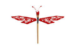 Czerwona biała farba zrobił dragonfly Zdjęcia Stock