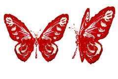 Czerwona biała farba zrobił motyla setowi Obrazy Royalty Free