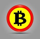 Czerwona Bitcoin znaka ikona dla interneta pieniądze Crypto moneta wizerunek dla używać w i, Zdjęcia Royalty Free