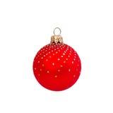 Czerwona Bożenarodzeniowa piłka odizolowywająca na białym tło nowym roku Zdjęcie Stock