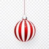 Czerwona Bożenarodzeniowa piłka z śnieżnym skutkiem Xmas szklana piłka na przejrzystym tle Wakacyjny dekoracja szablon również zw ilustracji
