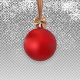 Czerwona Bożenarodzeniowa piłka z piłką i faborek na Przejrzystej tło wektoru ilustraci Zdjęcie Royalty Free