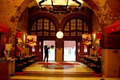 Czerwona cegła, Nostalgiczna Zachodnia restauracja fotografia stock