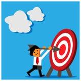 Czerwona cel ikona i biznesowy mężczyzna Ten tematu szablon pokazuje pojęcie pomoc celu osiągnięcie ilustracji