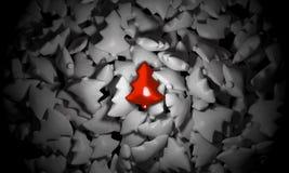 Czerwona choinka na prostym tle Zdjęcie Royalty Free
