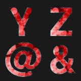 Czerwona chrzcielnica iluminująca z odbicie skutkiem na czarnym tle - set 7 Kapitałowy początkowy list Y, Z, Przy, Ampersand, dla Fotografia Royalty Free