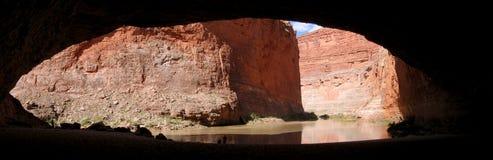 czerwona ściana cavern panoramy Zdjęcia Royalty Free
