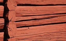 czerwona ściana drewna Zdjęcia Stock
