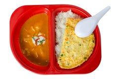 Czerwona curry wieprzowina i wieprzowiny omelette Obrazy Royalty Free