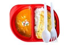 Czerwona curry wieprzowina i wieprzowiny omelette Obrazy Stock