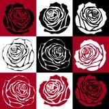 Czerwona Czarna biel róża ilustracja wektor