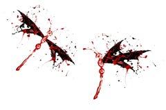 Czerwona czarna farba zrobił dragonfly setowi Obraz Stock