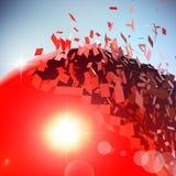 Czerwona 3D piłka wybuchał w kawałki Ilustracja Wektor