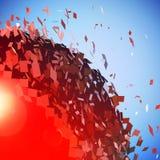 Czerwona 3D piłka wybuchał w kawałki Ilustracji