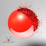 Czerwona 3D piłka wybuchał w kawałki Obraz Royalty Free