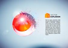 Czerwona 3D piłka wybuchał w kawałki Obrazy Royalty Free