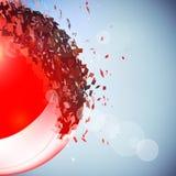 Czerwona 3D piłka wybuchał w kawałki Zdjęcia Royalty Free