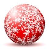 Czerwona 3D sfera z Kartografującą Białą płatek śniegu teksturą ilustracji
