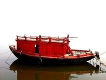 Czerwona Domowa łódź na Ganges rzece Zdjęcia Stock