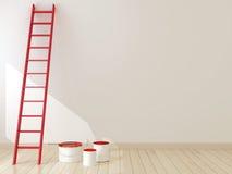 Czerwona drabina przeciw ścianie Obrazy Stock