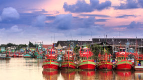 Czerwona drewniana łódź Obraz Royalty Free