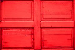 Czerwona drewniana drzwiowa tekstura Obraz Royalty Free